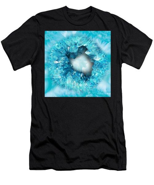 Heart Shaped Crystals Aqua Blue Men's T-Shirt (Athletic Fit)