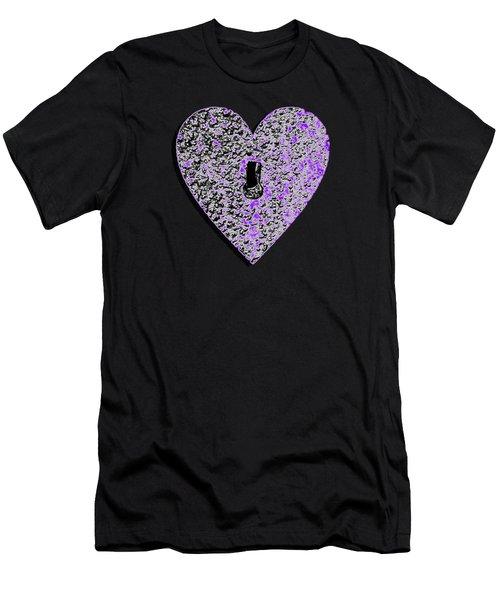 Heart Shaped Lock Purple .png Men's T-Shirt (Athletic Fit)