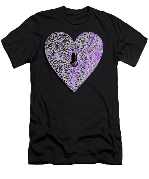 Heart Shaped Lock Purple .png Men's T-Shirt (Athletic Fit)