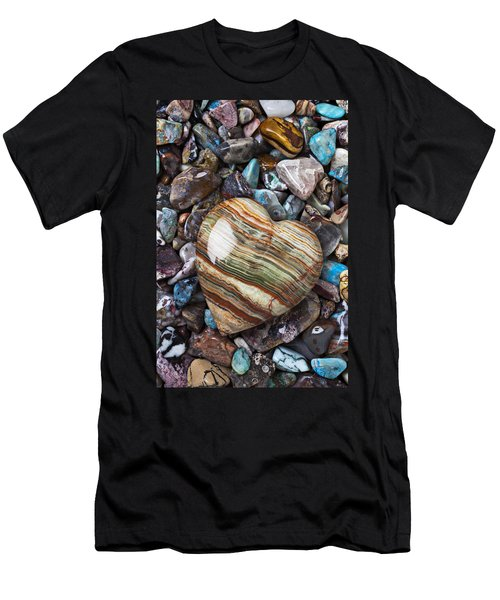 Heart Stone Men's T-Shirt (Slim Fit) by Garry Gay
