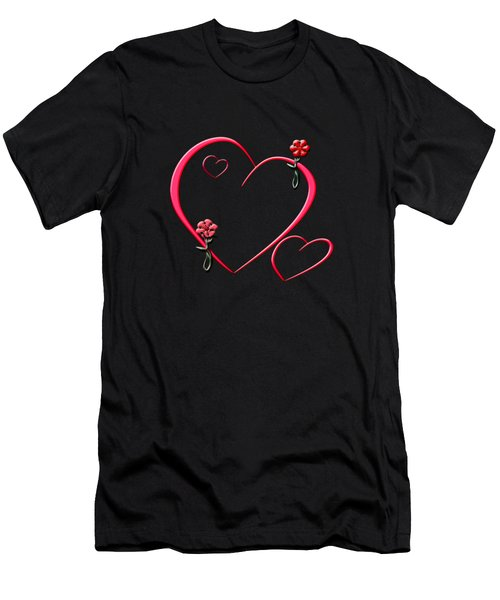 Hearts And Flowers Men's T-Shirt (Slim Fit) by Judy Hall-Folde