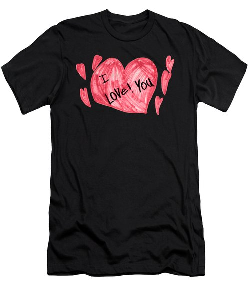Hearts - I Love You Men's T-Shirt (Athletic Fit)