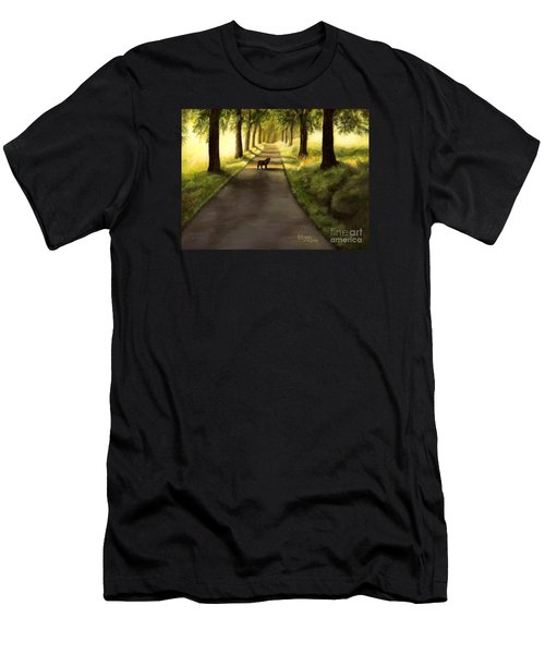 Serenity - Walk With Black Labrador Men's T-Shirt (Athletic Fit)
