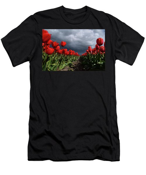 Heavy Clouds Over Red Tulips Men's T-Shirt (Slim Fit) by Mihaela Pater