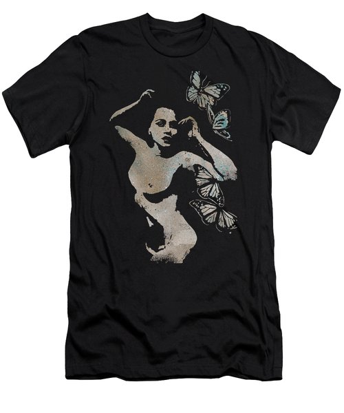 Heavy Crown - Nude Butterfly Pin Up Erotic Graffiti Men's T-Shirt (Athletic Fit)