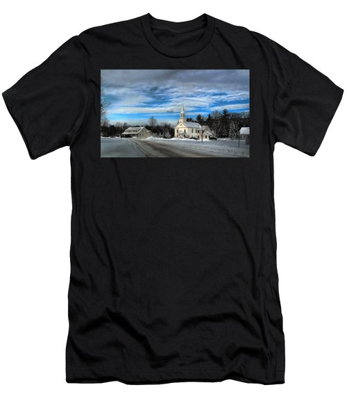 Men's T-Shirt (Athletic Fit) featuring the photograph New Snow On Hebron Common by Wayne King