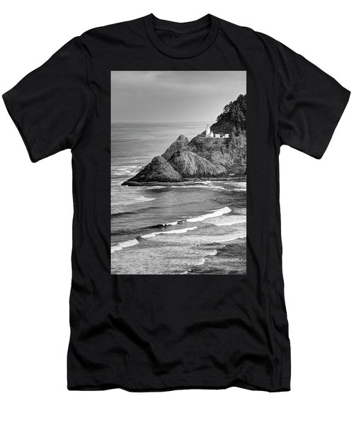 Heceta Head Light In Black And White Men's T-Shirt (Athletic Fit)