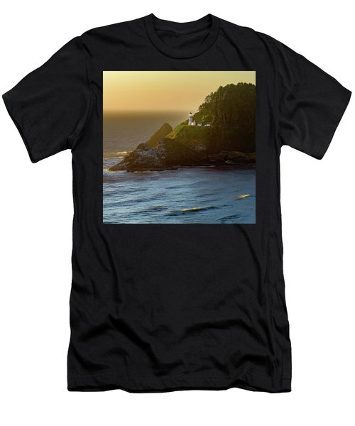 Men's T-Shirt (Athletic Fit) featuring the photograph Heceta Head Lighthouse At Sunset by John Hight