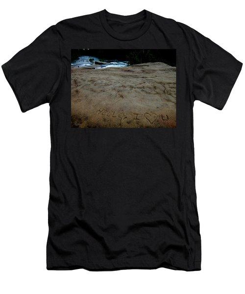 Hello I Heart U Men's T-Shirt (Athletic Fit)