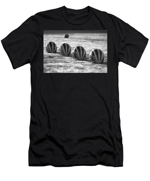 Helmets On Dew-covered Field At Dawn Black And White Men's T-Shirt (Athletic Fit)