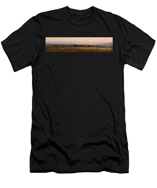 Herd Of Bison Grazing Panorama Men's T-Shirt (Athletic Fit)