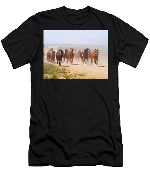 Herd Of Horses During The Great American Horse Drive On A Dusty Road Men's T-Shirt (Athletic Fit)