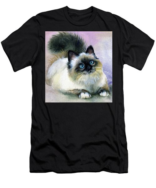 Men's T-Shirt (Slim Fit) featuring the painting Here Kitty by Karen Showell