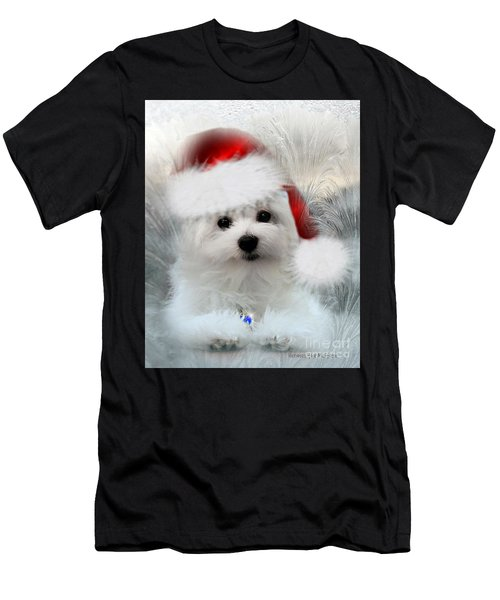 Hermes The Maltese At Christmas Men's T-Shirt (Athletic Fit)