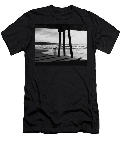 Men's T-Shirt (Athletic Fit) featuring the photograph Hermosa Surfer Under Pier by Michael Hope
