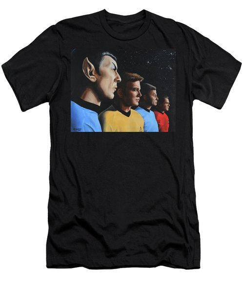 Men's T-Shirt (Athletic Fit) featuring the painting Heroes Of The Final Frontier by Kim Lockman