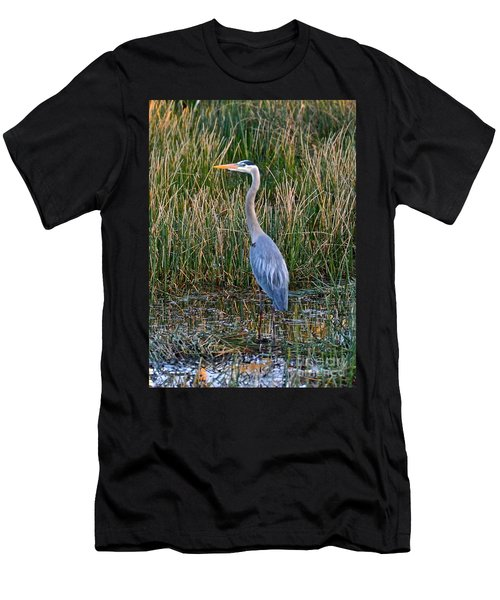 Heron At Sunset Men's T-Shirt (Slim Fit) by Carol  Bradley
