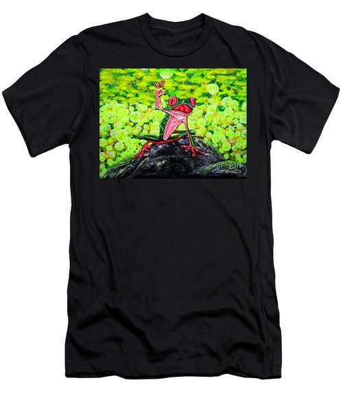 Men's T-Shirt (Slim Fit) featuring the painting Hey  People by Viktor Lazarev