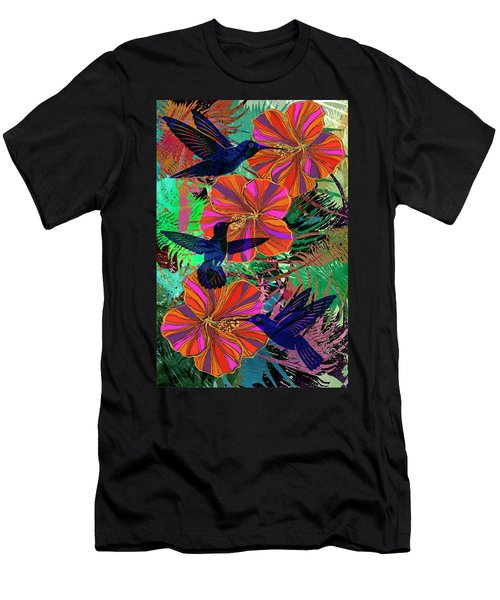 Hibiscus And Hummers Men's T-Shirt (Athletic Fit)