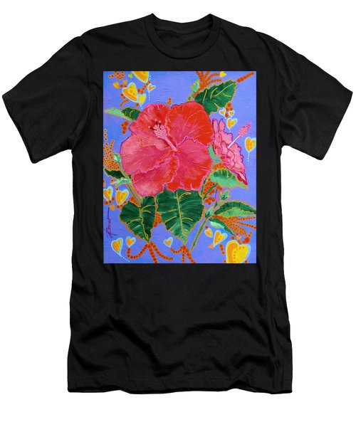Hibiscus Motif Men's T-Shirt (Athletic Fit)