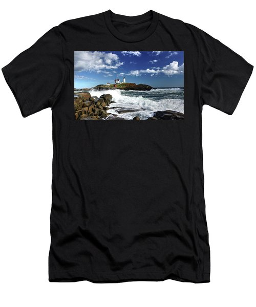 High Surf At Nubble Light Men's T-Shirt (Athletic Fit)