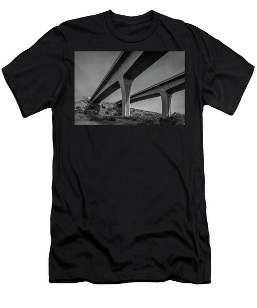 Highway 52 Over Spring Canyon, Black And White Men's T-Shirt (Athletic Fit)