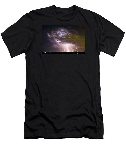 Highway 52 Storm Cell - Two And Half Minutes Lightning Strikes Men's T-Shirt (Slim Fit) by James BO  Insogna