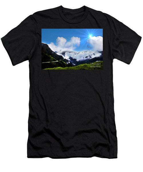 Men's T-Shirt (Slim Fit) featuring the photograph Highway Through The Andes - Painting by Al Bourassa
