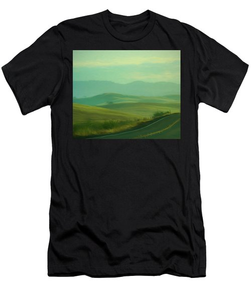Hills In The Early Morning Light Digital Impressionist Art Men's T-Shirt (Athletic Fit)