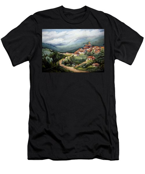 Men's T-Shirt (Slim Fit) featuring the painting Himalayan Village  by Samiran Sarkar