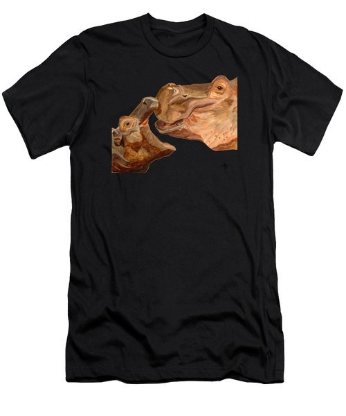 Men's T-Shirt (Athletic Fit) featuring the painting Hippos by Angeles M Pomata