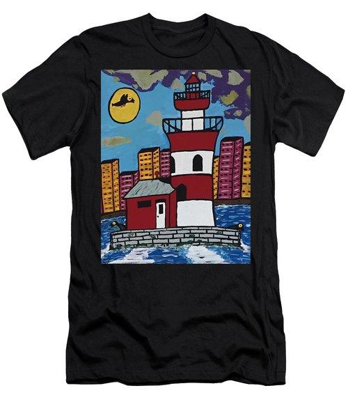 Historical Michigan Lighthouse Men's T-Shirt (Slim Fit) by Jonathon Hansen