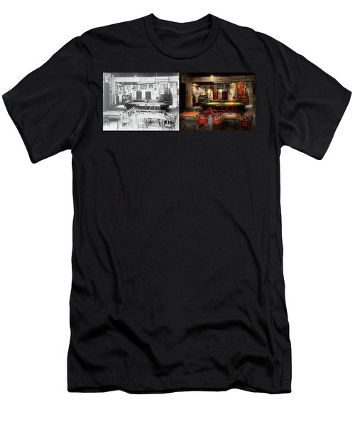 Men's T-Shirt (Slim Fit) featuring the photograph Hobby - Pool - The Billiards Club 1915 - Side By Side by Mike Savad