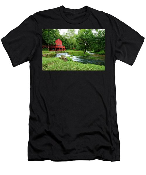 Men's T-Shirt (Slim Fit) featuring the photograph Hodgson Water Mill And Spring by Cricket Hackmann