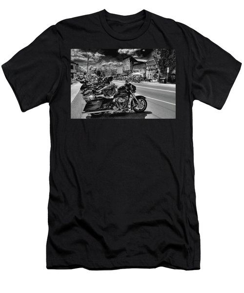 Hogs On Main Street Men's T-Shirt (Slim Fit) by David Patterson