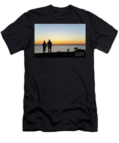 Men's T-Shirt (Slim Fit) featuring the photograph Holding Hands By  Sunset  by Kennerth and Birgitta Kullman