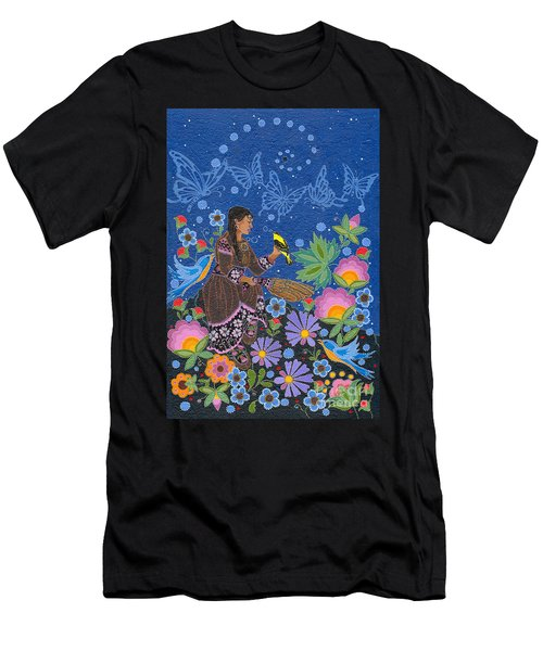 Men's T-Shirt (Athletic Fit) featuring the painting Hole In The Sky's Daughter by Chholing Taha