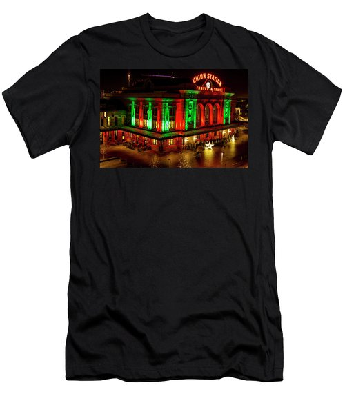 Holiday Lights At Union Station Denver Men's T-Shirt (Athletic Fit)