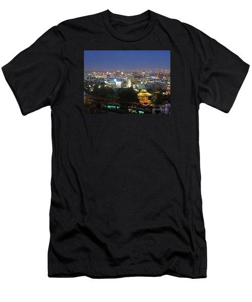 Hollywood Hills After Dark Men's T-Shirt (Slim Fit) by Cheryl Del Toro