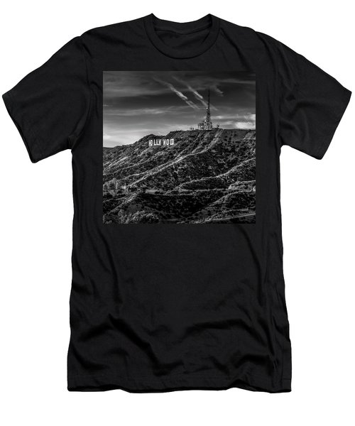 Hollywood Sign - Black And White Men's T-Shirt (Athletic Fit)