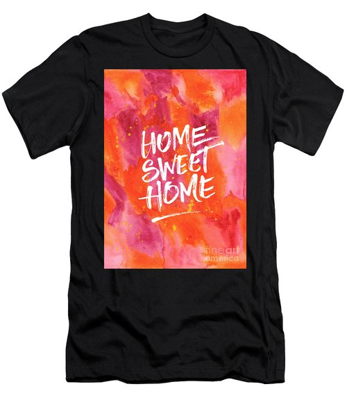 Home Sweet Home Handpainted Abstract Orange Pink Watercolor Men's T-Shirt (Athletic Fit)