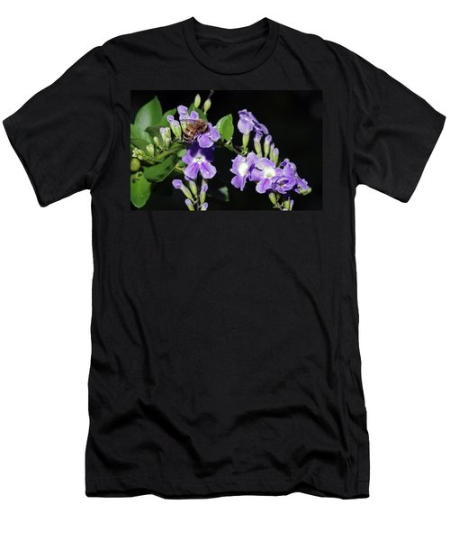 Men's T-Shirt (Slim Fit) featuring the photograph Honeybee On Golden Dewdrop II by Richard Rizzo