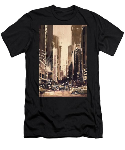 Hong-kong Cityscape Painting Men's T-Shirt (Athletic Fit)