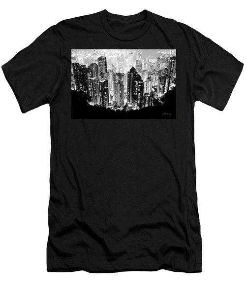 Hong Kong Nightscape Men's T-Shirt (Athletic Fit)