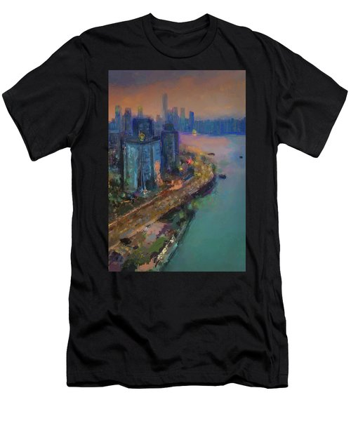 Hong Kong Skyline Painting Men's T-Shirt (Athletic Fit)