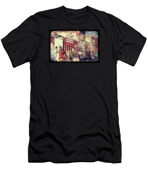 Honky Tonk Row - Nashville Men's T-Shirt (Slim Fit) by Debra Martz