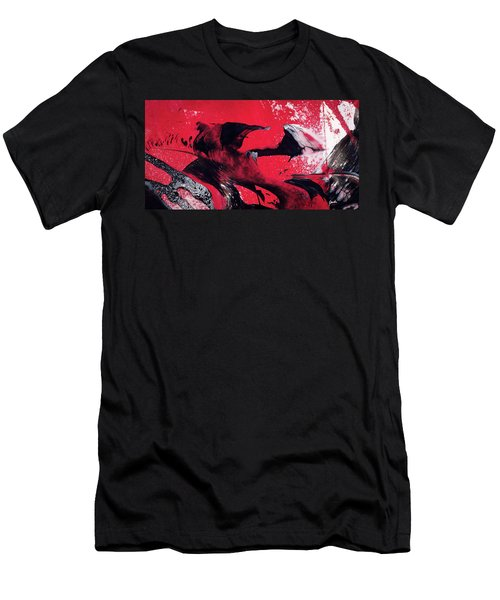 Hope - Red Black And White Abstract Art Painting Men's T-Shirt (Athletic Fit)