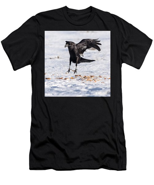 Hopping Mad Raven In The Snow Men's T-Shirt (Slim Fit) by John Brink