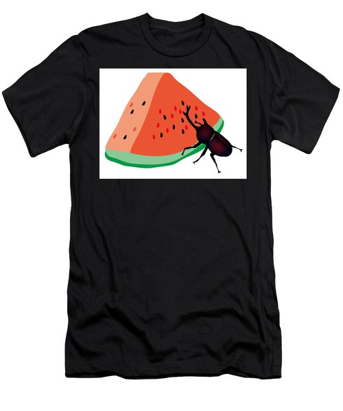 Horn Beetle Is Eating A Piece Of Red Watermelon Men's T-Shirt (Athletic Fit)