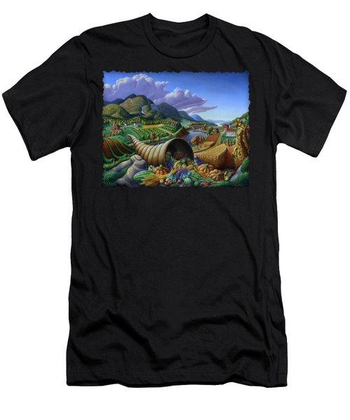 Horn Of Plenty - Cornucopia - Autumn Thanksgiving Harvest Landscape Oil Painting - Food Abundance Men's T-Shirt (Athletic Fit)